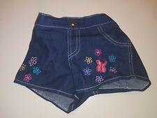 Build A Bear ~ Denim Jean Shorts w/Embroidered Flowers & Butterflies BABW BAB