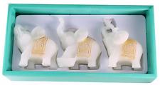 Feng Shui 3 White Jade Elephants Set Trunk Statues Wealth Figurine Home Decor