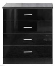 Black Ossotto High Gloss 4 Drawer Chest *FAST & FREE DELIVERY*