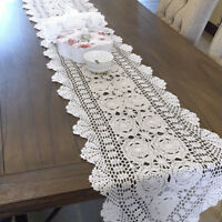 "White Vintage Table Runner Hand Crochet Dresser Scarf Oval Lace Doily 15""x78"""