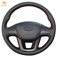 Black Leather Steering Wheel Cover 0for Kia K2 Kia Rio 2011-2013 #QY14