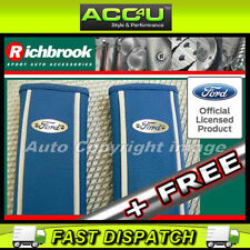 Richbrook Ford Official White Blue Leather Car Shoulder Harness Seat Belt Pads+F