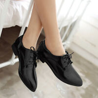 Classic Womens Pointed Toe Low Heel Oxford Lace Up Dress Formal Work Shoes