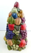 "Vintage Holland Mold Handmade Ceramic Fruit Topiary Tree Centerpiece 11.5"""