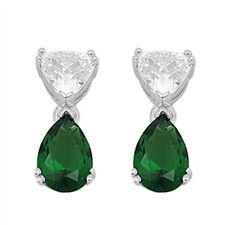 Emerald & Cz Teardrop Dangle  .925 Sterling Silver Earrings