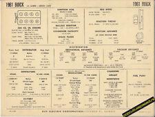 1961 BUICK LE SABRE SERIES 4400 V8 364 ci Engine Car SUN ELECTRIC SPEC SHEET