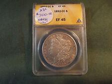 1892CC EF45 ANACS Morgan silver dollar scarce date, 1892 CC 1892-CC