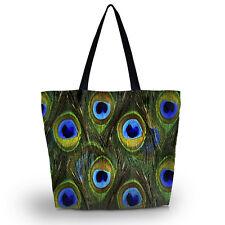 Peacock Feather Soft Foldable Tote Womens Shopping Bag Shoulder Bag Lady Handbag