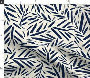 Brush Leaves Navy Cream Botanical Texture Spoonflower Fabric by the Yard