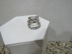 Set of 3 Gemstone Sterling Silver 925 Peridot Amethyst SZ 7 Stack Band Ring (E)