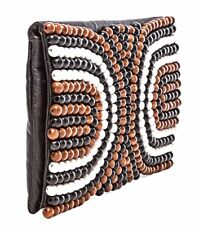 Nanette Lepore Wooden Beaded And Leather Shoulder Bag Clutch New With Tags NWT