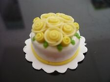 White Yellow Round Cake Rose Top Dollhouse Miniatures Food  Valentine Day