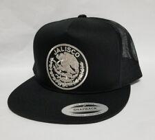 JALISCO   MEXICO HAT MESH TRUCKER BLACK  LOGO SILVER METALIC   SNAP BACK NEW