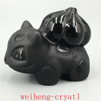 Natural obsidian Bulbasaur model quartz Carved crystal skull Reiki healing 1pc