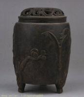 """bronze dynastie 5 """"marqué bambou fleur jambes brûleur d'encens encensoir pin"""
