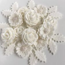 White Christmas Roses/ Holly Bouquet Edible Sugar Paste Cake Decorations Toppers