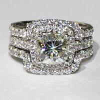 4 Ct Cushion Cut Diamond Engagement & Wedding Ring 14K White Gold Fn Bridal Set