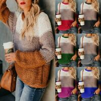 Women Loose Knitted Pullover Jumper Sweater O neck Long Sleeve Knitwear Top c998
