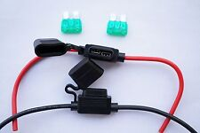 ICOM YAESU KENWOOD Blade Fuse In Line Holder 12 AWG Red & Black Cable 30A