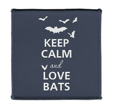 """Keep Calm And Love Bats Iron on 4x4"""" Embroidered Edge Patch Applique On Jacket"""