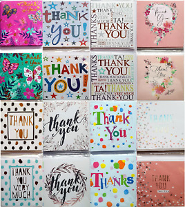 Pack of 8 Small Thank You Cards Notelets Multipack - Choice of 11 Designs