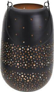 Large Metal Lantern Hanging Candle Perforated Design Black Gold Holder Outdoor
