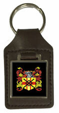 O'Callaghan Family Crest Surname Coat Of Arms Brown Leather Keyring Engraved