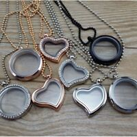 30mm Living Memory Floating Glass Locket Pendant Necklace Free Chain Jewelry Hot