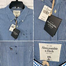 ABERCROMBIE & FITCH Mens XXL Long Sleeve Muscle Shirt Blue White Check NEW $88