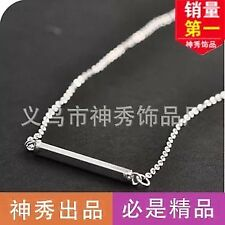 USA 925 New Silver/Gold Horizontal Bar Necklace Sideways Stainless Pendant Gift