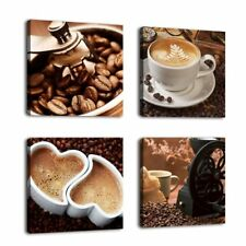 Kitchen Coffee Wall Art Picture Print Canvas Framed Home Hang Decor Gift 4 Pcs