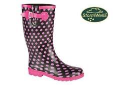Ladies Stormwells Wellies Pink Black Spot Gusset Buckle Wellington Rain Boots