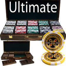 500 Ct Ultimate 14g Casino Poker Chips Cards Set in Walnut Wooden Case