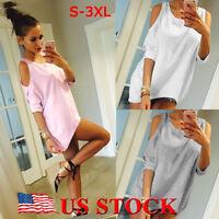 US Womens Off Shoulder Loose Shirt Fashion Ladies Summer Casual Blouse Top Shirt