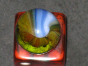 RARE/HTF MASTER COLOR GREEN GLASS VINTAGE MULTI COLOR SUNBURST MARBLE
