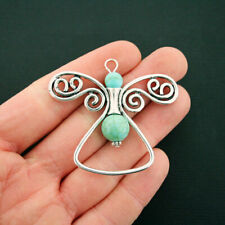 Angel Pendant Charm Antique Silver Tone With Faux Turquoise 2 Sided - SC6723