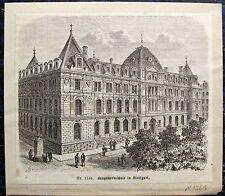 STUTTGART. Baugewerbeschule. Orig. Holzstich 1880