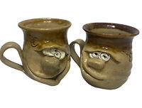 Lot Pretty Ugly Pottery Coffee Mug Cup Face Handmade in Wales Glazed Stoneware