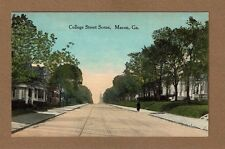 Macon,GA Georgia, College Street Scene trolley tracks used 1914