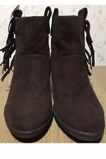 Size 4 Ladies Rocket Dog Ankle Boots Dark Brown Western Cowboy Style Tassels