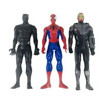 Marvel 12 in Action Figures Lot 2012 Spiderman 2017 Black Panther 2018 Iron Man