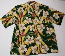 Vintage True Grit Mens XL Hawaiian Shirt Linen Nice Flower Patern Pocket USA