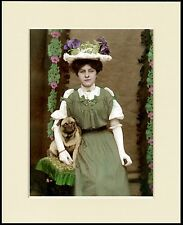 PUG LITTLE DOG AND PRETTY EDWARDIAN LADY LOVELY PRINT MOUNTED READY TO FRAME