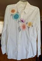3J Workshop Johnny Was Embroidered Button Down Shirt White Rebirth Flower M