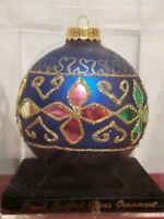"BEAUTIFUL VINTAGE LARGE ROUND HAND CRAFTED GLASS ORNAMENT 13"" CIRCUMFERENCE"