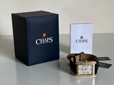 CHAPS REECE GOLD CRYSTALS MOTHER OF PEARL BEZEL BLACK GENUINE LEATHER WATCH $110