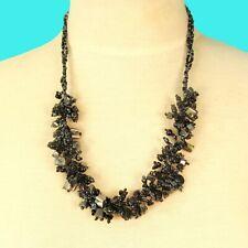 "22"" Hematite Black Stone Shell Chip Handmade Seed Bead Bali Necklace"