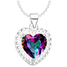 Rainbow Mystic Topaz Heart Silver Plated Pendant Necklace