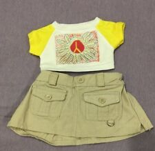 "Build A Bear Workshop ""Retro"" Peace Sign T-Shirt & Khaki Skirt  ADORABLE!"