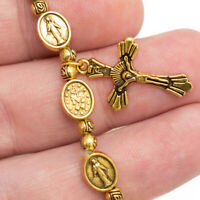 Vintage Gold Miraculous Medal Rosary Bracelet Cross Crucifix Virgin Mary Roses
